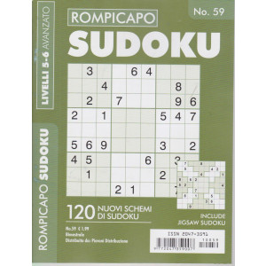 Rompicapo Sudoku - n. 59 - livelli 5-6 avanzato - bimestrale