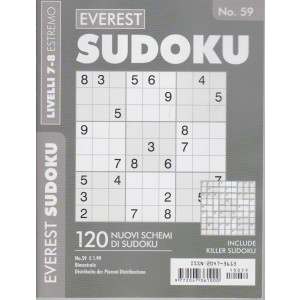 Everest Sudoku -  - n. 59 - livelli 7-8 estremo - bimestrale