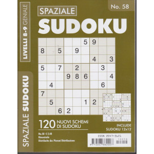 Spaziale Sudoku - n. 58 - livelli 8-9 geniale - bimestrale
