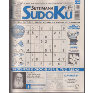 Settimana Sudoku - n. 845 - settimanale -22  ottobre  2021