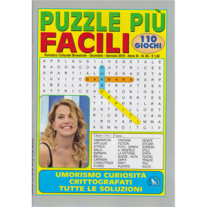 Puzzle Piu' Facili - n. 63 - bimestrale - dicembre - gennaio 2019 - 110 giochi - Barbara D'Urso