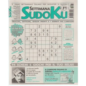Settimana Sudoku - n. 626 - 11 Agosto 2017