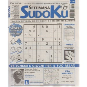 Settimana sudoku - n. 687 - settimanale - 12 ottobre 2018 -