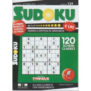 Sudoku - n. 139 - mensile - ottobre 2018 -