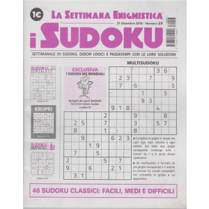 La settimana enigmistica - I sudoku - n. 23 - 27 dicembre 2018 - settimanale