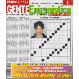 Gente Enigmistica - n. 1 - 10 gennaio 2019 - 100 pagine di vero passatempo - quindicinale