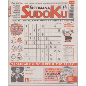Settimana sudoku - n. 701 - settimanale - 18/1/2019 -