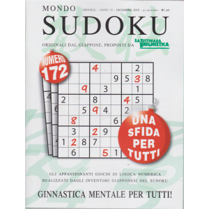 Mondo sudoku - n. 172 - mensile - dicembre 2019 -