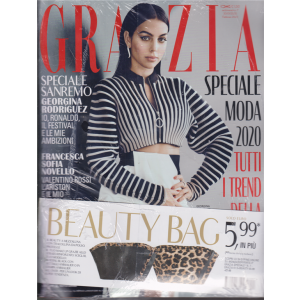 Grazia + Beauty bag - n. 7 - settimanale - febbraio 2020 - rivista + beauty bag