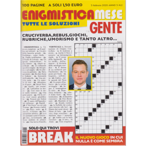 Enigmistica mese Gente - n. 2 - 5 febbraio 2020 - 100 pagine