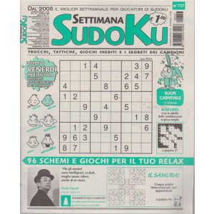 Settimana Sudoku - n. 757 - settimanale - 14 febbraio 2020