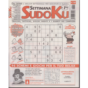 Settimana sudoku - n. 758 - settimanale - 21 febbraio 2020 -