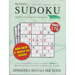 Mondo Sudoku - n. 175 - mensile- marzo 2020 -