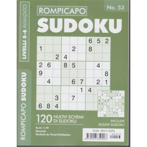 Rompicapo Sudoku - n. 53 - bimestrale - livelli 5-6 avanzato