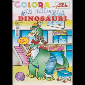 Colora con i pastelli  gli allegri dinosauri - n. 7 - mensile - maggio - giugno 2020