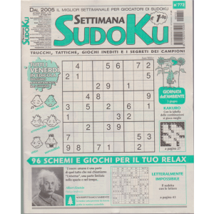 Settimana Sudoku - n. 772 - settimanale - 29 maggio 2020
