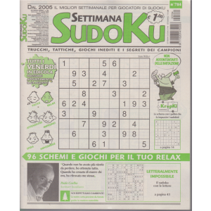 Settimana Sudoku - n. 784 - settimanale - 21 agosto 2020 -