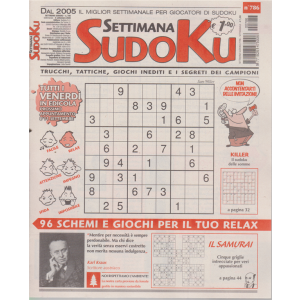 Settimana Sudoku - n. 786 - settimanale - 4 settembre 2020