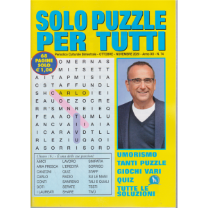 Solo  Puzzle  per tutti - n. 74 - ottobre - novembre 2020 - bimestrale - 68 pagine