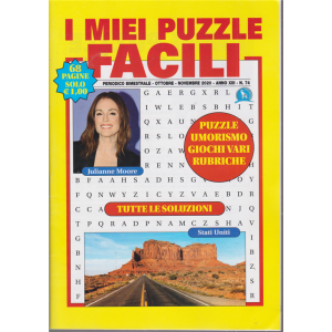 I miei puzzle  facili - n. 74 - bimestrale - ottobre - novembre 2020 - 68 pagine