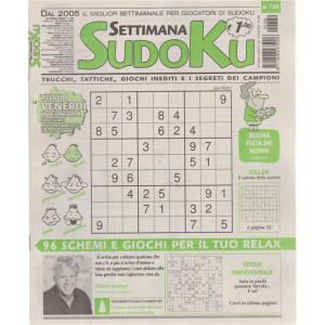 Settimana Sudoku - n. 789 - settimanale - 25 settembre 2020 -