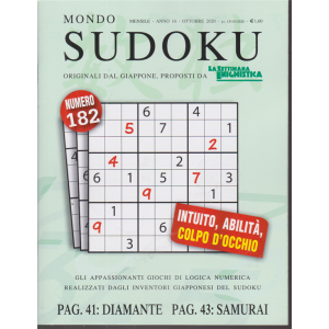 Mondo Sudoku - n. 182 - mensile - ottobre 2020