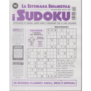 La settimana enigmistica - i sudoku - n. 119 - 29 ottobre 2020 - settimanale