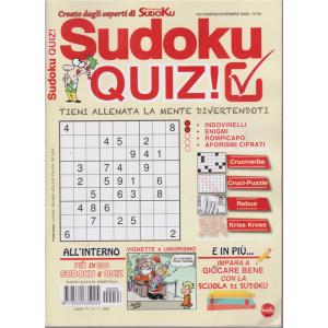 Sudoku Quiz - n. 33 - bimestrale - 14/11/2020 -