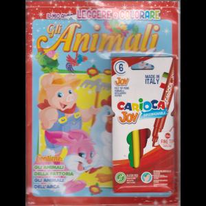 Il mio albo Leggere e colorare - Gli animali - n. 8 - bimestrale - dicembre/gennaio 2021 - + 6 Pennarelli Carioca Joy superwashable