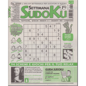 Settimana Sudoku - n. 729 - settimanale - 2 agosto 2019