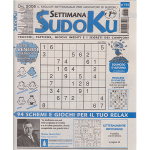 Settimana Sudoku - n. 735 - settimanale - 13 settembre 2019