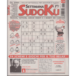 Settimana sudoku - n. 708 - settimanale - 8 marzo 2019 -
