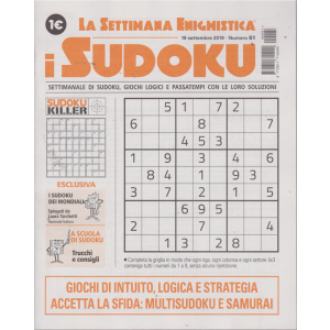 La settimana enigmistica - i sudoku - n. 61 - 19 settembre 2019 - settimanale