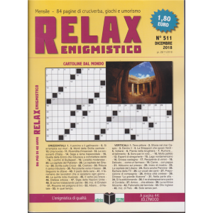 Relax - Enigmistico - n. 511 - dicembre 2018 - mensile