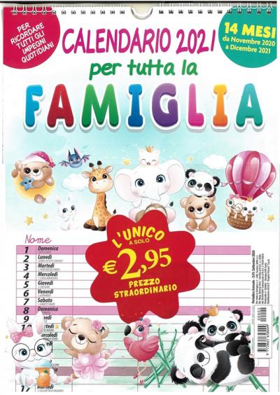 Calendario per tutta la famiglia 2021   cm. 21 x 44 con spirale